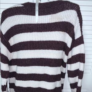 Size L Knitted Sweater Brown/White Stripes